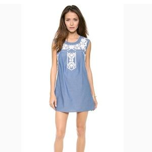 Tory Burch Calita denim blue tunic dress size S